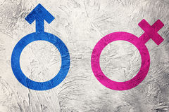 Male and female symbols. Retro style. Male and female symbols Royalty Free Stock Photo