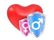 Male And Female Symbols on a shield Royalty Free Stock Image
