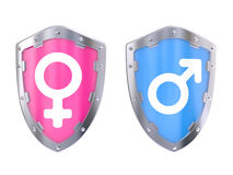 Male And Female Symbols on a shield Royalty Free Stock Photo