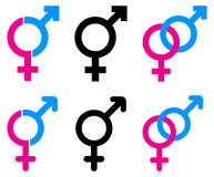 Male and female symbols. Simple iluustration of male and female symbols Royalty Free Stock Photos