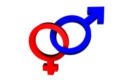 Male/Female symbols united Stock Photo