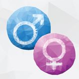 Male and female symbols. Vecktor polygonal style Royalty Free Stock Photos