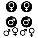 Male and female symbols. White background. Vector illustration. Male and female symbols .  Vector illustration Stock Image