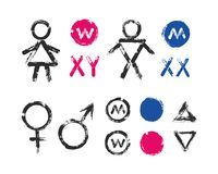Male Female Symbols WC Toilet Icons. Male Female Symbols and Toilet Icons. Brush strokes signs for man and woman. Grunge design elements with distress texture Stock Image
