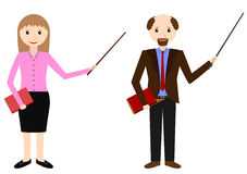 Male and female teachers with pointer. Teacher on lesson. Vector illustration Stock Photography