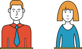 Male and Female Thin Line Avatars. Male and female thin line style colored avatars. Flat vector design. People icons stock illustration