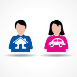 Male Female thinking about their home and car Royalty Free Stock Photo