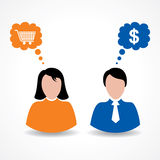 Male and female thinks about shopping and money Stock Photography