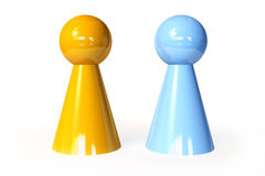 Male and Female Toy Figures. 3D Illustration. Male and Female Stock Photos