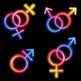 Male, Female and Transgender Gender Symbols. Laser Neon Stock Images