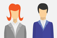 Male and female user icons. Flat vector design Royalty Free Stock Image