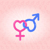 Male female, venus mars symbols Royalty Free Stock Images
