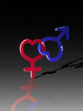 Male female, venus mars symbols on black Stock Images