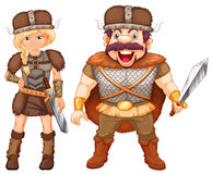 Male and female vikings in armour suit Royalty Free Stock Photo