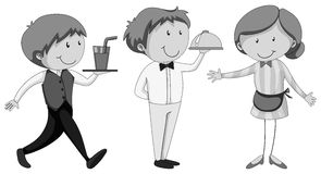 Male and female waiters serving Stock Images