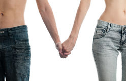 Male and female on white background stock images