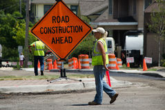 Workers in a construction zone stock photo