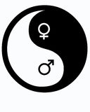 Male and Female Yin Yang. Yin Yang with male and female symbols Stock Images