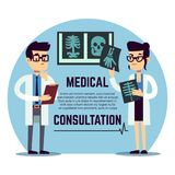 Male and female young doctors diagnosis - medical consultation. Male and female young doctors make diagnosis - medical consultation emblem design. Vector Royalty Free Stock Image