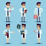 Male and female young doctors set. Vector doctor man and woman, medical professional surgeon specialist illustration Royalty Free Stock Image