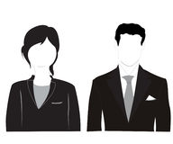 Male and feminine silhouettes on white background Royalty Free Stock Photos