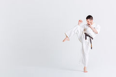 Male fighter in kimono Stock Photography
