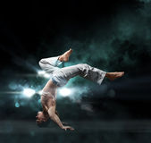 Male fighter trains capoeira Royalty Free Stock Photos