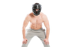 Male fighter wearing protectve helmet Stock Image