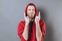Male fighting concept for playful middle age rapper Stock Photography