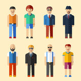 Male figure avatars flat style vector icons. Set Stock Photo