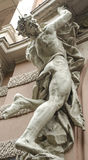 Male figure sculpture. On the facade of an old house in Art Nouveau style, Lviv, Ukraine Stock Image