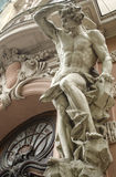 Male figure sculpture. On the facade of an old house in Art Nouveau style, Lviv, Ukraine Stock Photography