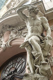 Male figure sculpture. On the facade of an old house in Art Nouveau style, Lviv, Ukraine Royalty Free Stock Photography