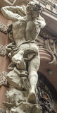 Male figure sculpture. On the facade of an old house in Art Nouveau style, Lviv, Ukraine Stock Photos