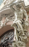 Male figure sculpture. On the facade of an old house in Art Nouveau style, Lviv, Ukraine Stock Photo