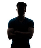 Male figure in silhouette looking at the camera. Isolated on white background Stock Photo