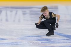 Male Figure Skater from Belarus Anton Bakunovich Performs Cubs A Boys Free Skating Program at Minsk Arena Cup. Minsk, Belarus –April 22, 2018: Male Figure Royalty Free Stock Image