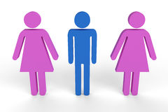 Male figure in between two female figures. CGI male figure in between two female figures Stock Photo