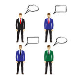 Male figures icons with speech bubbles. Business people. Male figures icons, avatars with speech bubbles. Business people icons.  Elements for design Royalty Free Stock Photos