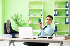 The male financial manager working in the office. Male financial manager working in the office Royalty Free Stock Photo