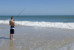 Male Fishing in Ocean Royalty Free Stock Photography