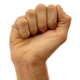 Male fist. Isolated on white stock images