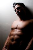 Male fitness model. A fit, sexy, young male model on a simple background with dramatic lighting Stock Images