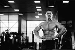 Male fitness model showing muscular body Stock Photo