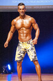 Male fitness model shows his physique in swimsuit om stage. MAASTRICHT, THE NETHERLANDS - OCTOBER 25, 2015: Male physique model shows his best front pose at Royalty Free Stock Photo