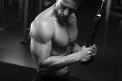 Male fitness model working out on simulator Royalty Free Stock Photography