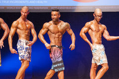 Male fitness models show their physique in swimsuit om stage Royalty Free Stock Image