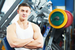 Male fitness trainer at gym Royalty Free Stock Photos