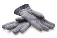 Male fleece gloves. On white background Royalty Free Stock Images