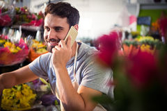 Male florist talking on mobile phone. At his flower shop Stock Photos